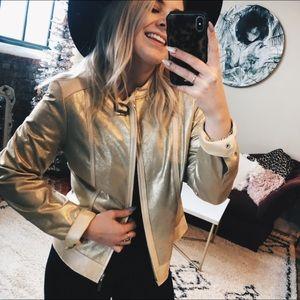 Doncaster Leather Gold metallic Moto Jacket